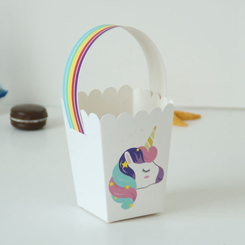 Unicorn Party Popcorn Boxes Diy Folding Candy Birthday Party Decoration Christmas Treat Bags Popcorn Box Drop Shipping Bag Parts & Accessories