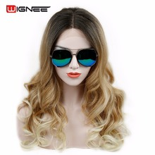 "Wignee Synthetic Lace Front Wigs For Black/White Women Long 24"" Wavy Glueless Blond Natural Look Ombre Hair Wig Heat Resistant(China)"