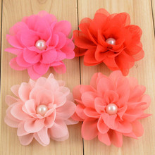 10PCS Chiffon Layered Fabric Flower With Pearl Center For Baby Girls Hair Accessories Hand Craft DIY Flower For Toddler Headwear