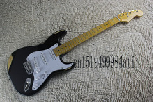 Stratocaster custom body with synchronized tremolo Imitation of the old one black Signature Electric Guitar @21