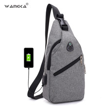 WANGKA Canvas Shoulder Bags Men Fashion High Quality Chest Bag With USB  Charging Casual Travel Sling Bags For Women 2018. US  11.88   piece Free  Shipping 913105c363