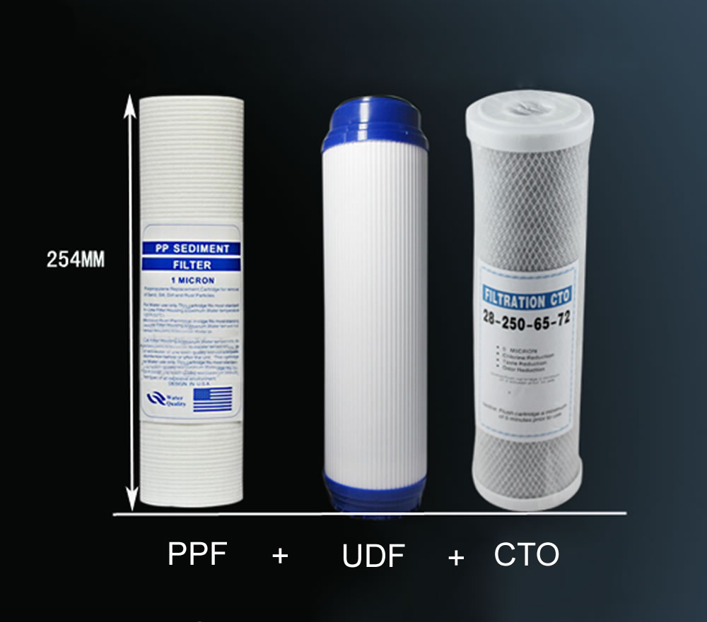 Water Purifier 3 Stage 10 Filter Cartridge PP UDF CTO System Water Filters For Household<br>