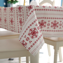 Senisaihon Linen Cotton Tablecloth Red Snowflakes Christmas Pattern Table Cloth Wedding Banquet Washable Table Cover Textiles(China)
