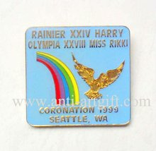 "Custom School Lapel rainbow Badge pins Eagle Wing Colorful Birds Logo 1.25""coronation  Gold Plated No MOQ OEM/ODM service"