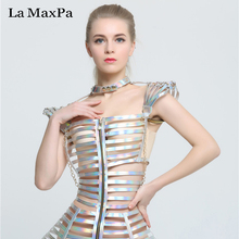 La MaxPa Fashion female singer costume stage show silver costume sexy slim clothing bar ds dj jazz dance outfit performance wear(China)