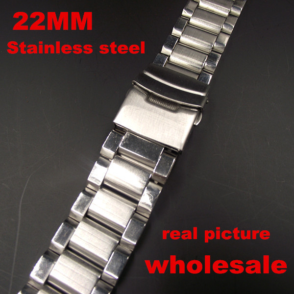 1PCS 22mm stainless steel watch band watch strap men wrist watch band real pictures <br><br>Aliexpress