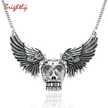 Brightly Punk Statement Necklaces Vintage Skull Wings Design Chain Necklaces for Women Halloween Party Gifts(China)