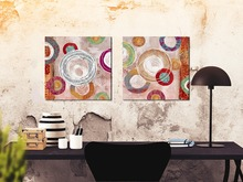 2Pcs Abstract Circle Canvas painting Wall art Home decor Wall pictures for living room Unframed(China)