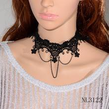 NL3122 Gothic Black Lace Chain Chokers Necklaces Unique Handmade Victorian Lace Chokers(China)