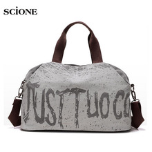 Canvas Letter Printing Handbags Tote Shopping Bag Shoulder Bags Women Outdoor Sports Gym Fitness Bag Travel Duffel Bolsa XA319YL(China)