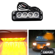4 LED Car Truck Emergency Beacon Light Bar Hazard Strobe Warning Yellow Amber Car External Lights Warning Lights