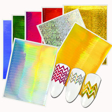 8 Sheets Holographic Strip Tape Nail Art Stickers Ultra Thin Laser Wave Stripe Line Sticker DIY Foil Manicure Decals Decor LA247