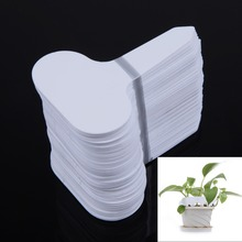 100pcs/set T-type Plastic Nursery Garden Plant Label Thick Tag Mark for Flower Pot for Garden White(China)