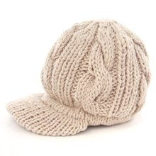 SYB 2016 NEW Women Slouchy Cabled Pattern Knit Beanie Crochet Rib Hat Warm - Beige(China)