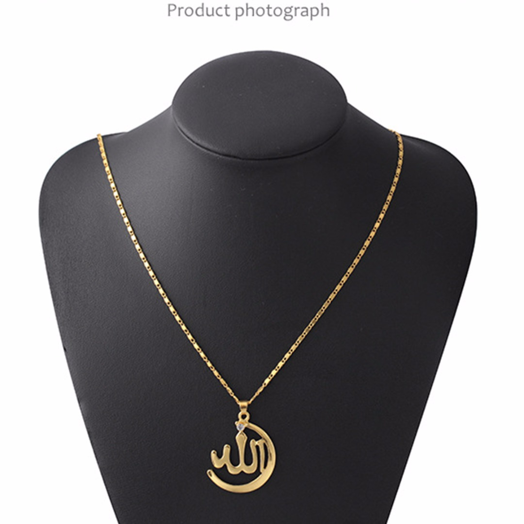 Women Trendy Muslim Necklace Punk Statement Metal Alloy Charm Necklace Small Round Crystal Silver Gold Chain Shellhard Arab Gift