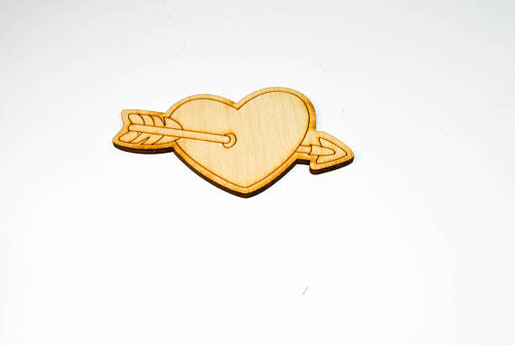 wood arrow heart