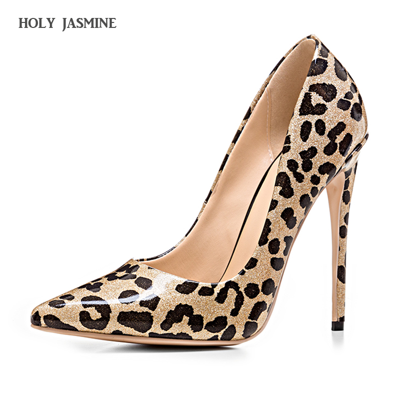Hot sale New 2017 Woman Shoes Sexy High Heel Pumps Leopard print Thin Heels Pointed Toe Brand PU Leather Shallow Wedding Shoes<br>