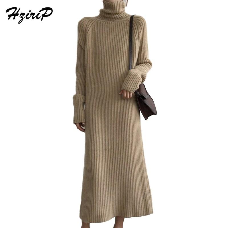 HziriP Winter Turtleneck Knitted Sweater Dress Women 2018 New Spring Office Work Long Sleeve Maxi Pullover Straight Dress RobeÎäåæäà è àêñåññóàðû<br><br>