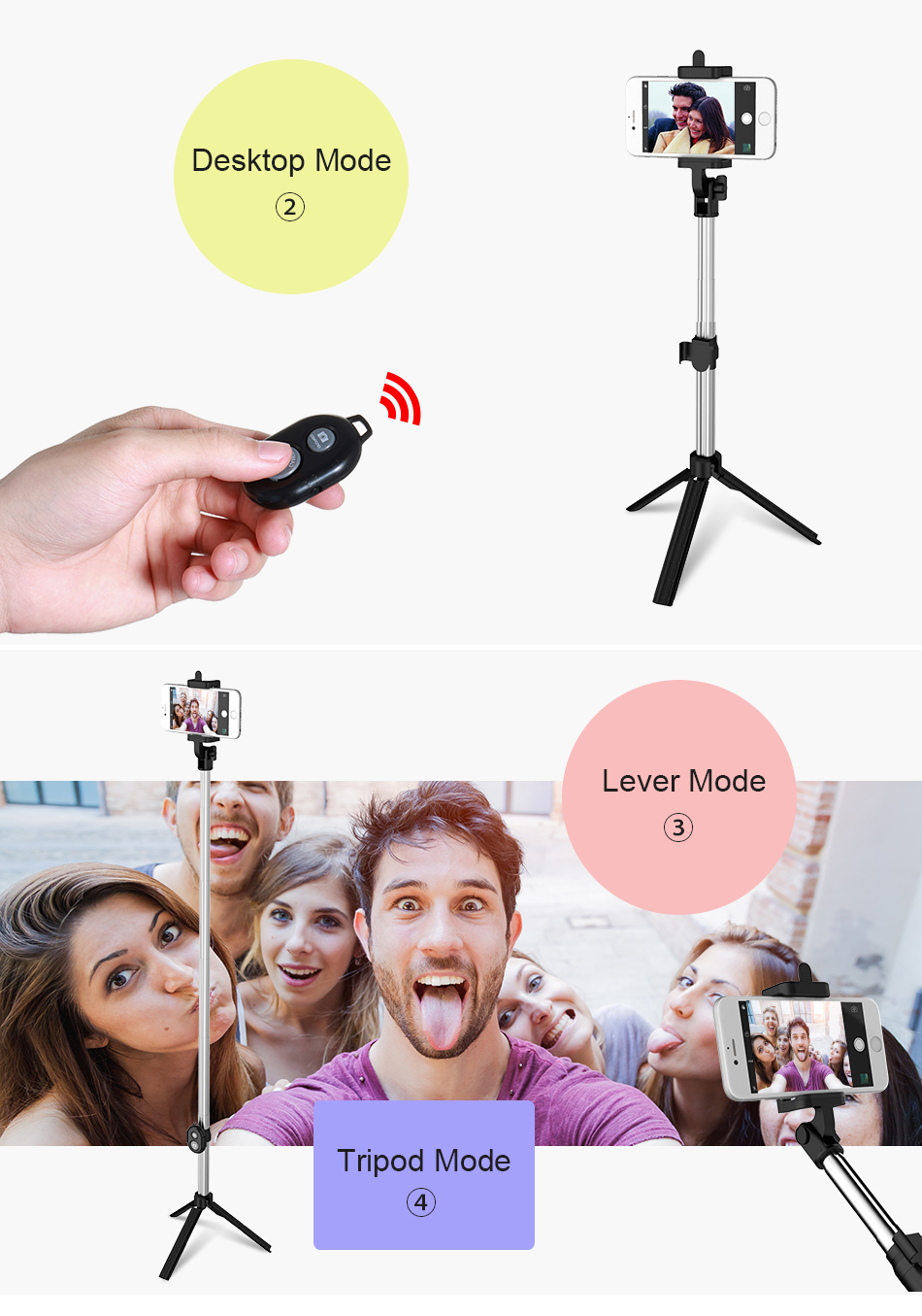 image for FLOVEME Bluetooth Selfie Stick For IPhone IOS Samsung Xiaomi Huawei An