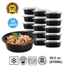 Round Plastic Food Storage Container With Lid,Bento Box,Meal Preparation Container/Microwave&Dishwasher Safe,30.5ounce,10 pack