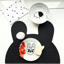 1pc Creative cute Bunny rabbit silicone Placemat Heat Resistant Mat Kids Baby Infant Tiny Diner Portable Table Mat 12x18in