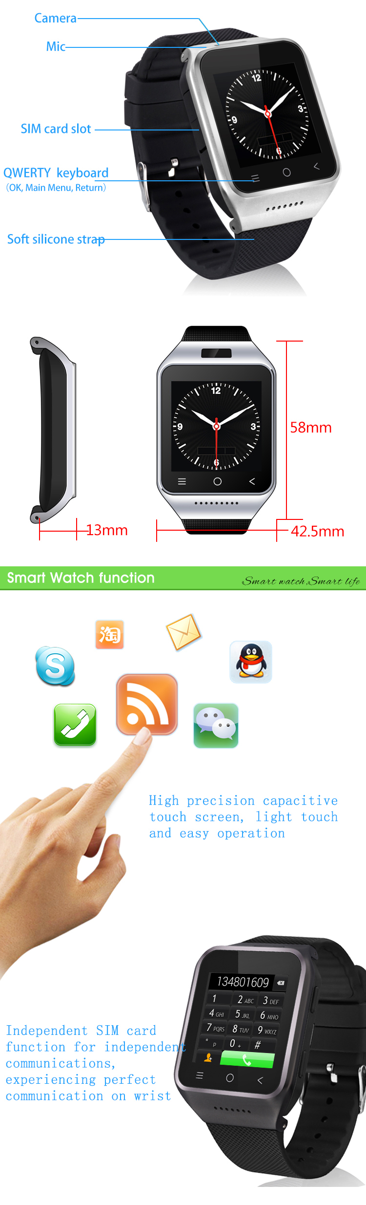 New Android Smart Watch Wrist watch MTK6572 Dual Core 4GB+8GB Rom 512MB Ram 1.54 inch 5.0MP Camera Wifi 3G GPS Smartwatch Phone