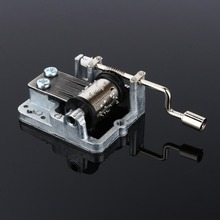 Hot Hand Crank Music Box 18 Notes DIY Craft Mechanism Hand Cranked Music Box Musical Movement+Screws 1PC