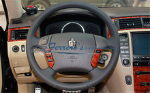 Sew-on genuine leather car steering wheel cover Car accessories For Toyota CROWN 2005-2009 MK12 / avensis T25