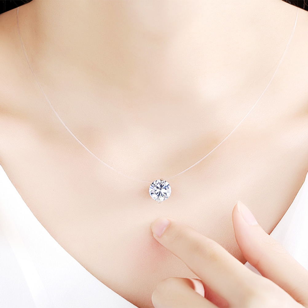 Fashion Zircon Pendant Necklace Invisible Fishing Line Necklace for Women Jewelry Decoration (China)
