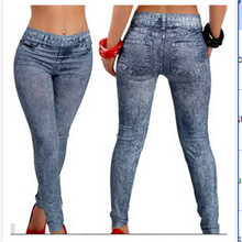 2017 Women's New Stylish Lady Solid Blue Denim Fake Kean Like Faux Jean Leggings Stretchy Leg Pants Drop Shipping Clearance