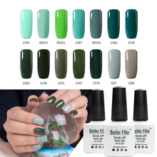 BELLE FILLE Dark Green Mint Green Color UV Gel Nail Polish 10ml LED Nail Gel Lacquer Varnish Professional fingernail Polish(China)