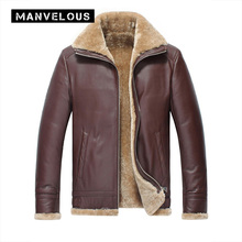 Manvelous PU Jacket Men Fashion Casual Thick Lapel Straight Solid Fleece Flocking Long Sleeve Burgundy Mens Leather Jacket Coats