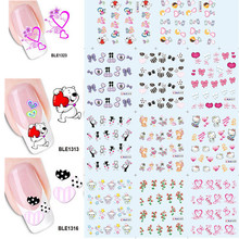 11 Design in 1 Happy Valentine's Day Nail Art Water Transfer Stickers Decorations DIY Teddy Bear Hearts Decals SABLE1313-1323