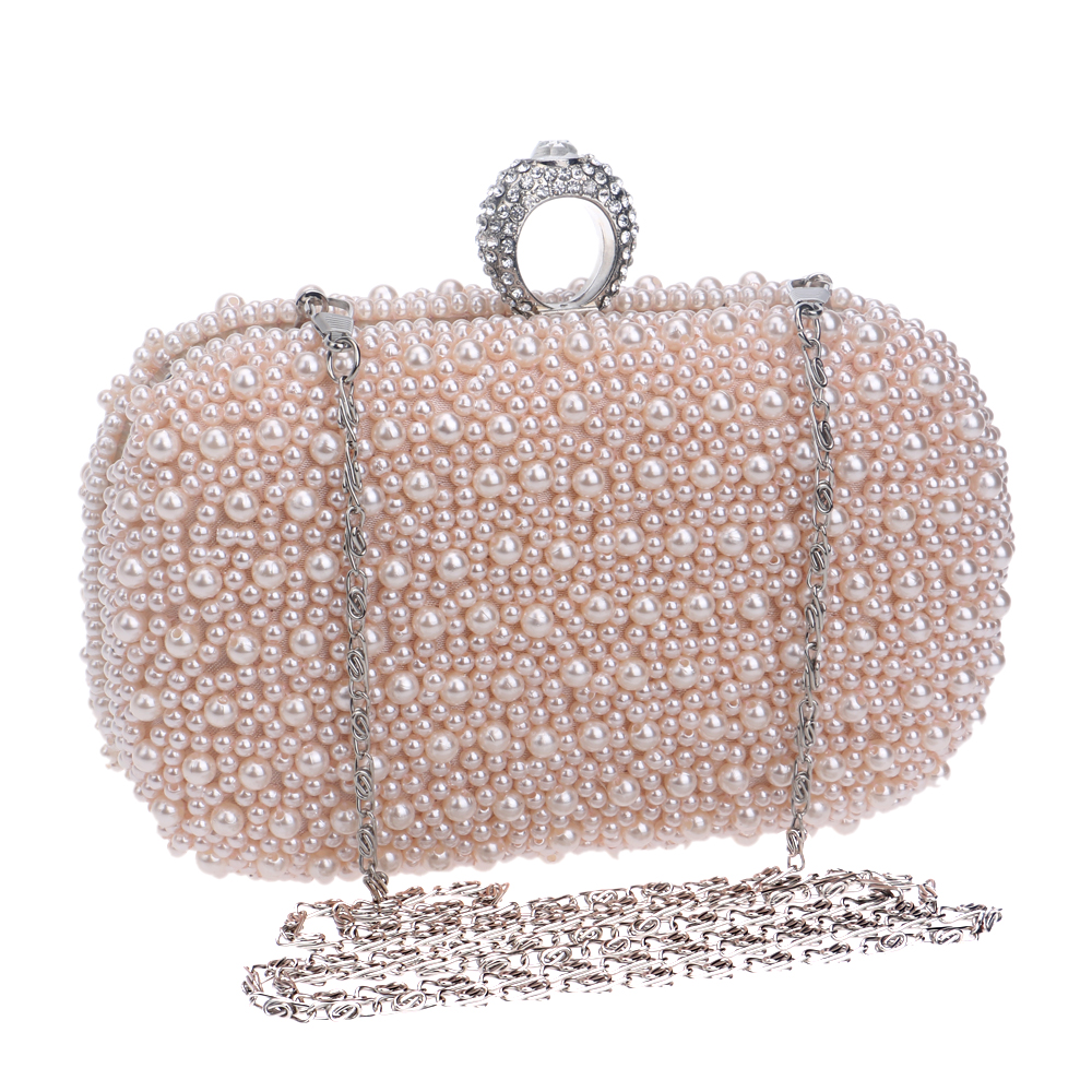 European style finger ring diamonds women metal evening bags beaded pink chain shoulder handbags for wedding party evening bag<br><br>Aliexpress