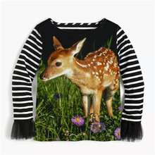 2017 new spring summer children girls stripe shirt blouse  net yarn long sleeves Sika deer print kids shirt
