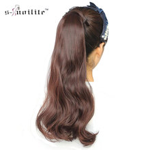SNOILITE Synthetic 24inch Curly Long Ponytail Clip In Pony Tail Hair Extensions Wrap on Hairpieces Hairstyles