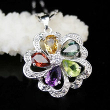 Pendant Free shipping Natural amethyst,citrine,peridot garnet,sapphire 925 sterling silver 1ct*1ct,0.75ct*2pc,0.65ct*2pcs gems