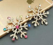 20pcs 45mm Gold Plated Clear/Multicolor Crystals SnowFlake For Scrapbooking Craft Hair Clip iPhone Case Decoration(China)