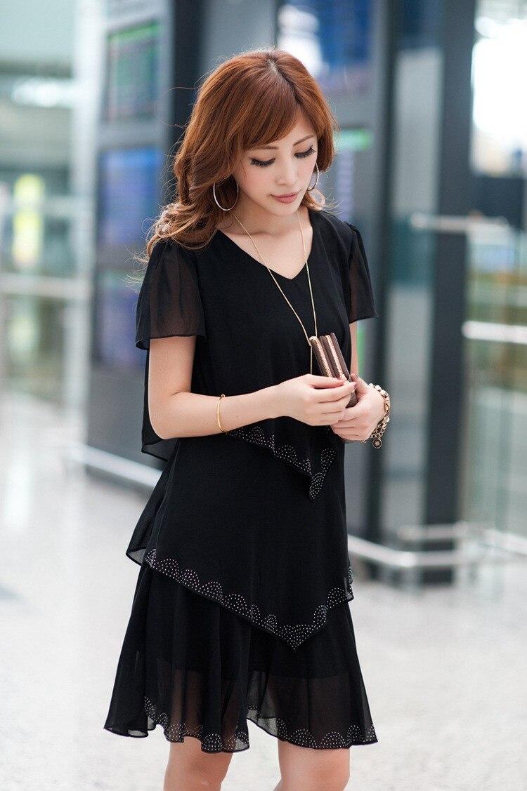 Vestido De Festa Summer Dresses 5XL Plus Size Women Clothing ropa mujer 18 Chiffon Dress Party Short Sleeve Casual Blue Black 5