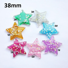 Resin glitter star flat back resin star charms for necklace 38mm 49PCS YZR490(China)