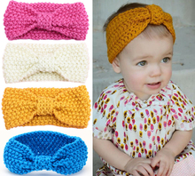 New Baby Knit Crochet Top Knot Elastic Turban Headband Baby Girls Head wrap Hair Bands Ears Warmer Baby Headband Accessories(China)