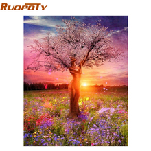 RUOPOTY Frameless Picture DIY Painting By Numbers Sexy Trees Landscape Handpainted Oil Painting For Home Decor Box Send 40x50cm(China)
