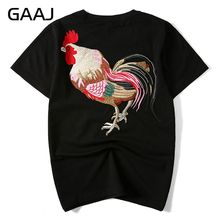"GAAJ Embroidered ""chicken"" Men T Shirts Clothing Chinese Japanese Style T-shirts For Man Streetwear Summer Fashion Mens Tees(China)"