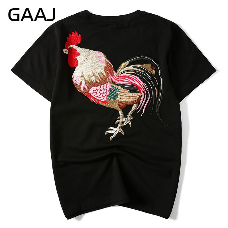 "GAAJ Embroidered ""chicken"" Men T Shirts Clothing Chinese Japanese Style T-shirts For Man Streetwear Summer Fashion Mens Tees(China (Mainland))"