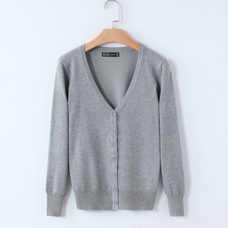 Knitted Cardigan Women 17 Spring Autumn Long Sleeve V-Neck Women's Sweater Cardigan Female Single Button Pull coat Black/Pink 17