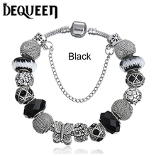 6 Colors European Fashion Glass Beads Jewelry Crystal pan Charm Bracelets for Women Original DIY Hand Accessories 1pcs/lot