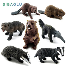 Zoo Simulation Badger Wolverine Anteater Beaver Bear plastic forest wild animals modeling toys figurine home Decor decoration(China)