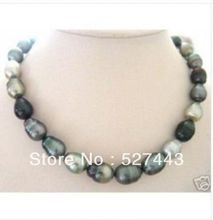 Wholesale free shipping >> Beautiful Baroque black grey pearl necklace