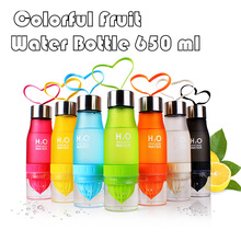 2017 Hot Creative 650ml H2O Water Bottle Juice Lemon Fruit Drinking Bottle Sports Travel Bottle Portable Gift Dropshipping