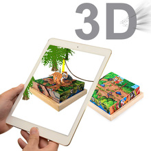 AR Intelligent Puzzles Wooden 3D Stereo 6 Painting Puzzle Early Education Wood Puzzle Building Toys For Children Best Gift